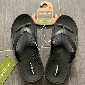 Okabashi breeze black flip flop sandal 6.5-7.5